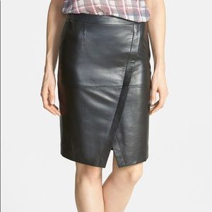 Halogen Seamed Leather Pencil Skirt